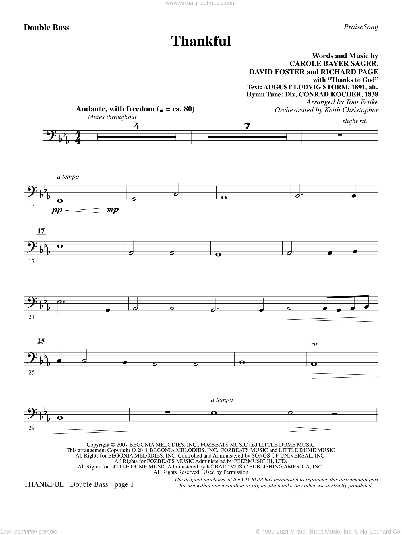 Thankful sheet music for orchestra/band (double bass) by Carole Bayer Sager