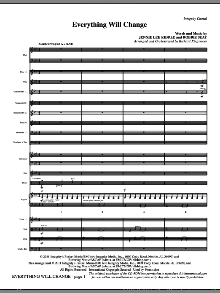 Everything Will Change (complete set of parts) sheet music for orchestra/band (Orchestra) by Jennie Lee Riddle, Robbie Seay and Richard Kingsmore, intermediate skill level