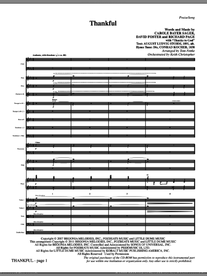 Thankful (complete set of parts) sheet music for orchestra/band (Orchestra) by David Foster, Carole Bayer Sager, Richard Page, Josh Groban and Tom Fettke, intermediate skill level