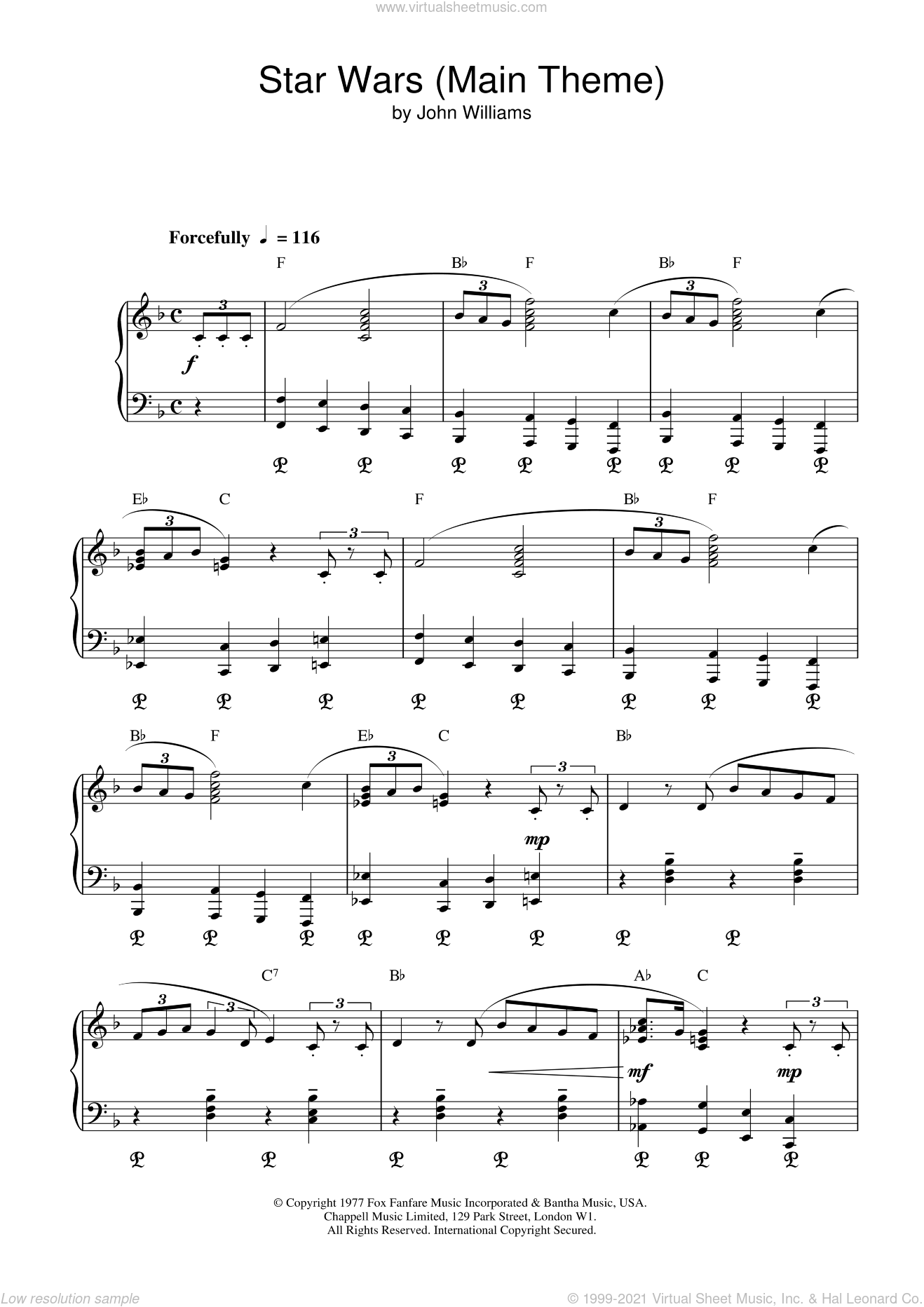 Star Wars (Main Theme), (intermediate) sheet music for piano solo by John Williams, intermediate skill level