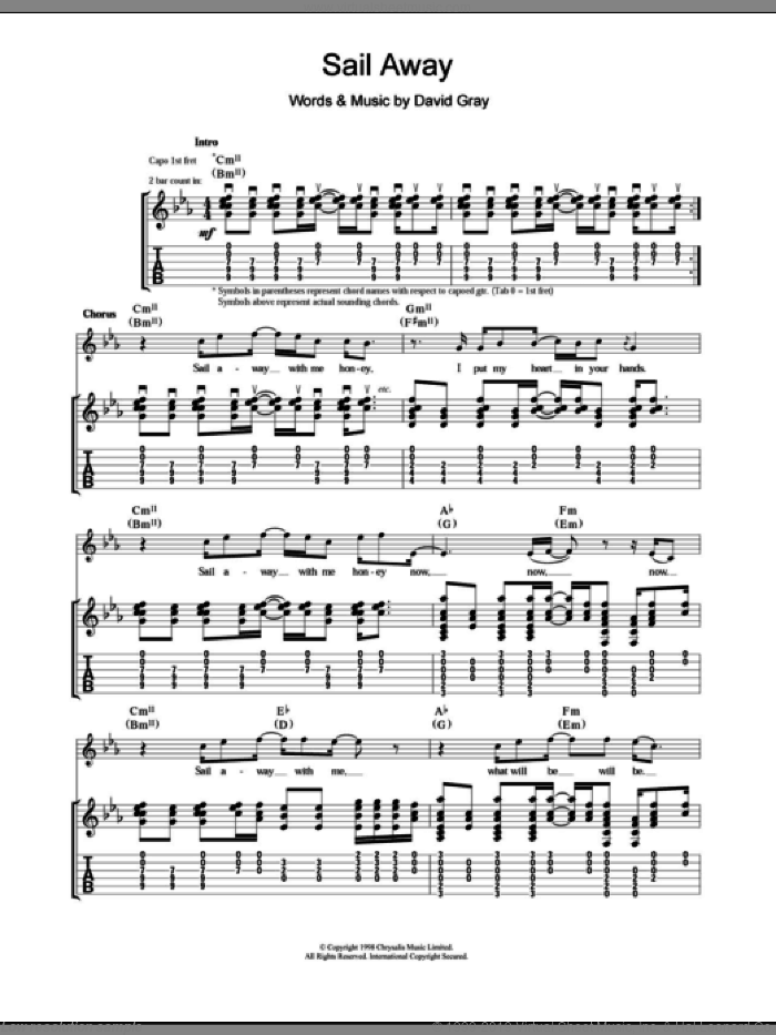 Sail Away sheet music for guitar (tablature) by David Gray. Score Image Preview.
