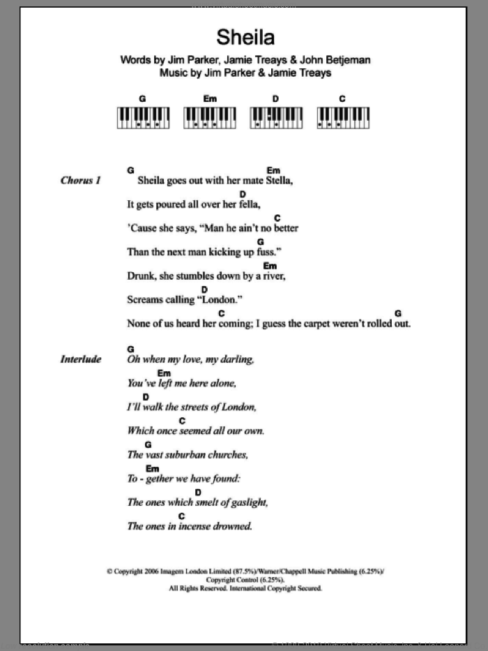 Sheila sheet music for piano solo (chords, lyrics, melody) by Jamie T, Jamie Treays, Jim Parker and John Betjeman, intermediate piano (chords, lyrics, melody). Score Image Preview.