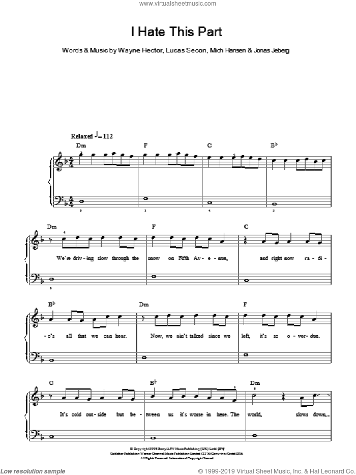 I Hate This Part sheet music for piano solo by Wayne Hector, The Pussycat Dolls, Jonas Jeberg, Lucas Secon and Mich Hansen. Score Image Preview.