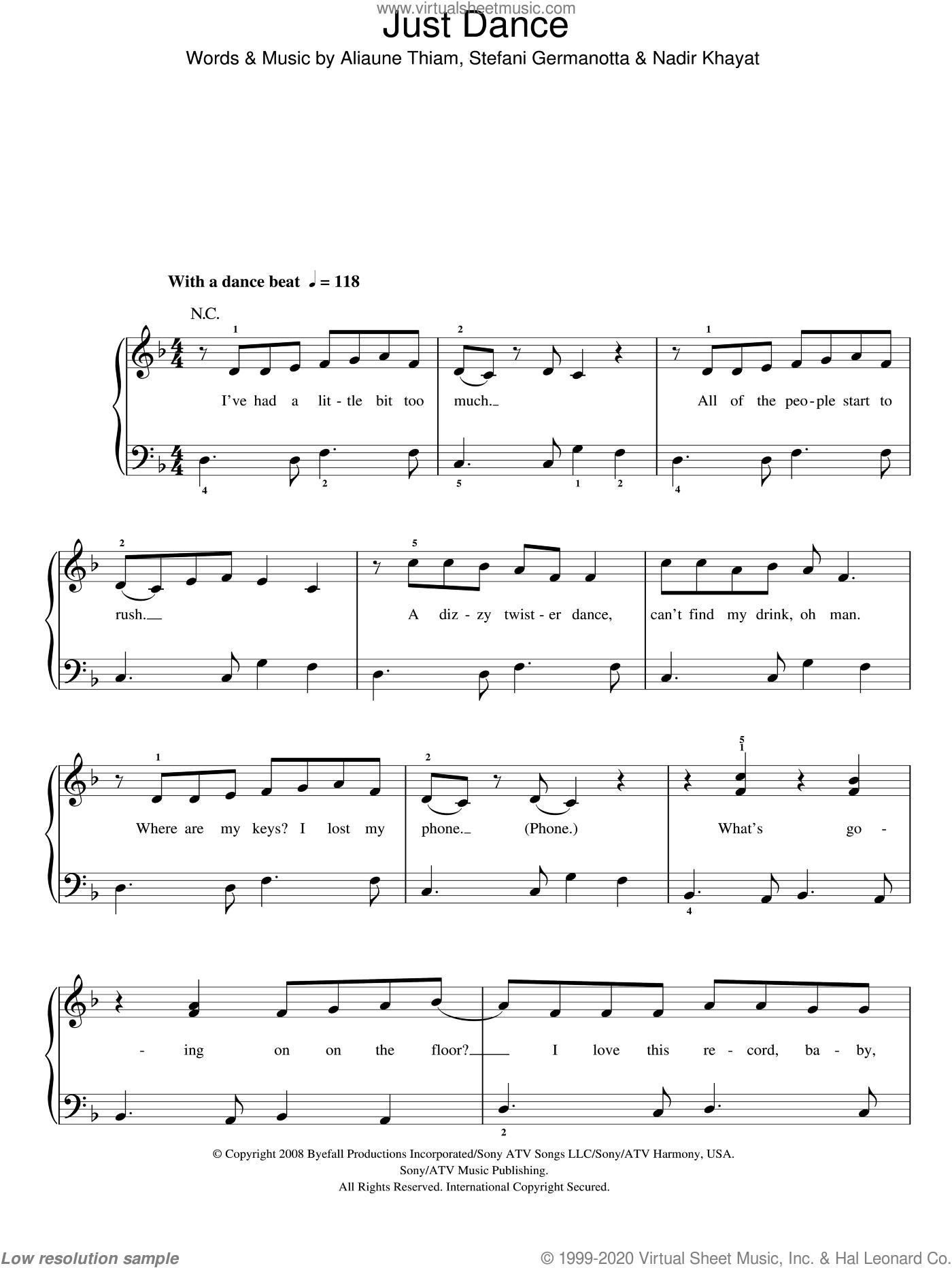 Just Dance sheet music for piano solo by Lady GaGa, Aliaune Thiam and Nadir Khayat, easy skill level