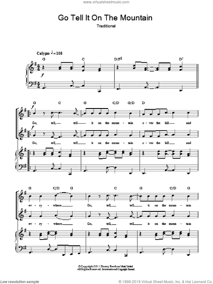 Go Tell It On The Mountain sheet music for choir (duets), intermediate duet. Score Image Preview.