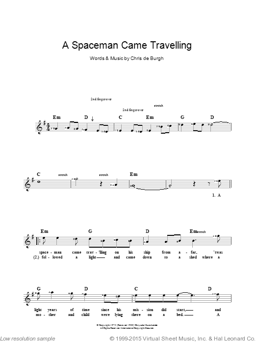 A Spaceman Came Travelling sheet music for piano solo (chords, lyrics, melody) by Chris de Burgh
