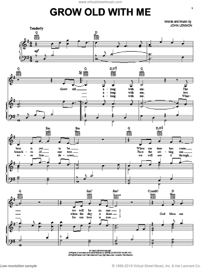 Grow Old With Me sheet music for voice, piano or guitar by Mary Chapin Carpenter and John Lennon, wedding score, intermediate skill level