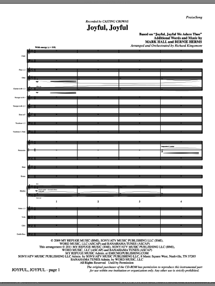 Joyful, Joyful (complete set of parts) sheet music for orchestra/band (Orchestra) by Richard Kingsmore, Bernie Herms, Mark Hall and Casting Crowns, intermediate skill level