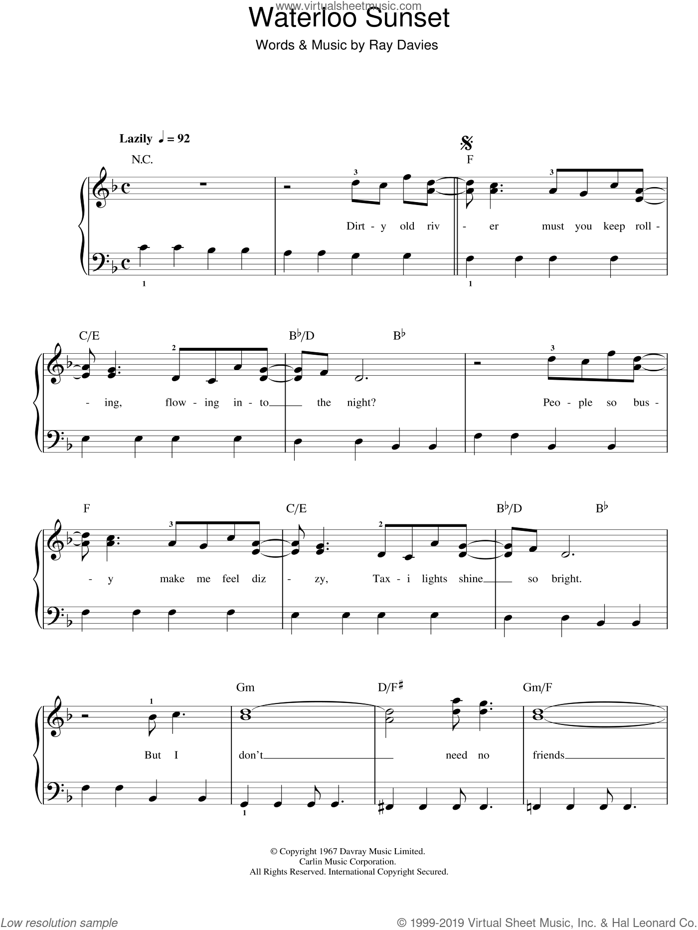 Waterloo Sunset sheet music for piano solo by Ray Davies, easy skill level