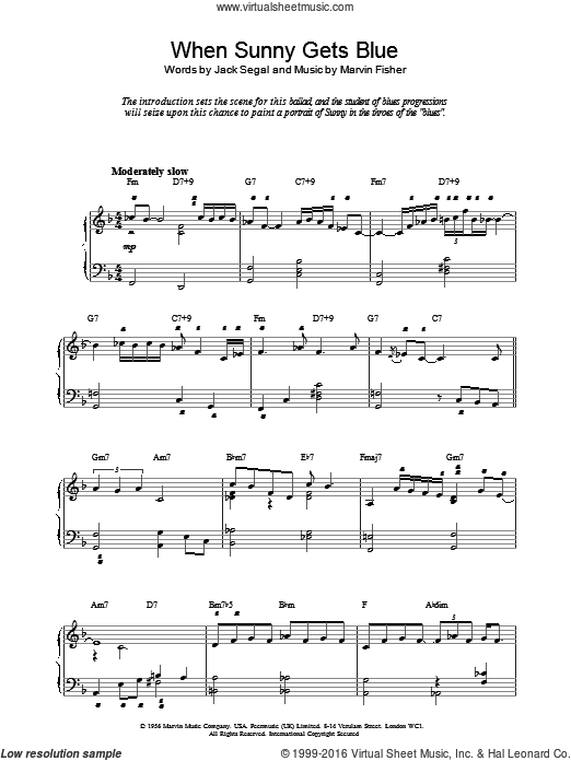 When Sunny Gets Blue sheet music for piano solo by Marvin Fisher and Jack Segal. Score Image Preview.