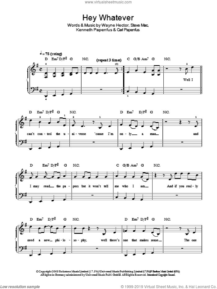 Hey Whatever sheet music for piano solo by Wayne Hector