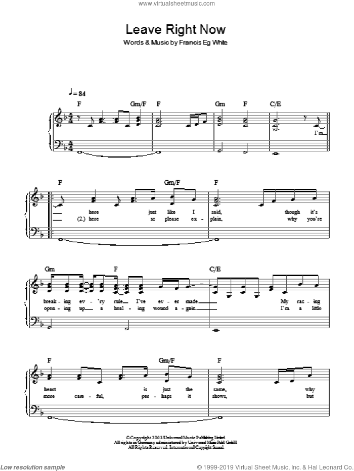 Leave Right Now sheet music for piano solo (chords) by Francis White
