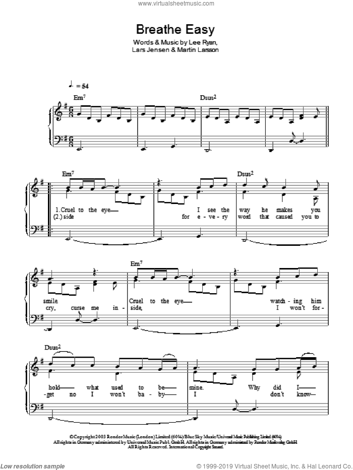 Breathe Easy sheet music for piano solo by Lee Ryan, Miscellaneous, Lars Jensen and Martin Larsson, easy skill level