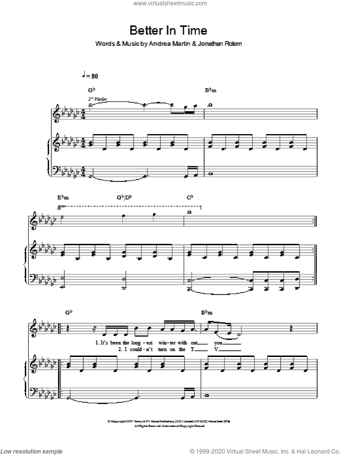 Better In Time sheet music for voice, piano or guitar by Leona Lewis, Andrea Martin and Jonathan Rotem, intermediate skill level