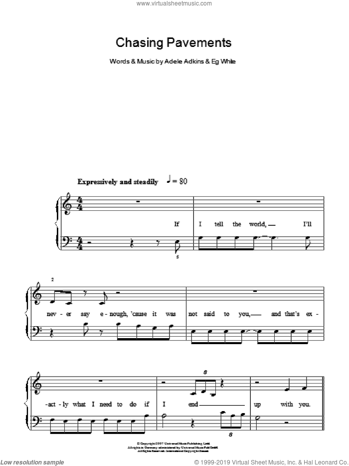 Chasing Pavements sheet music for piano solo by Eg White, Adele and Adele Adkins. Score Image Preview.