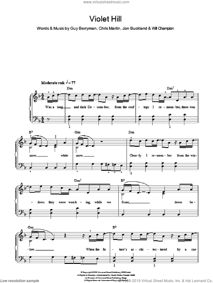 Violet Hill sheet music for piano solo by Coldplay, Chris Martin, Guy Berryman, Jon Buckland and Will Champion, easy skill level
