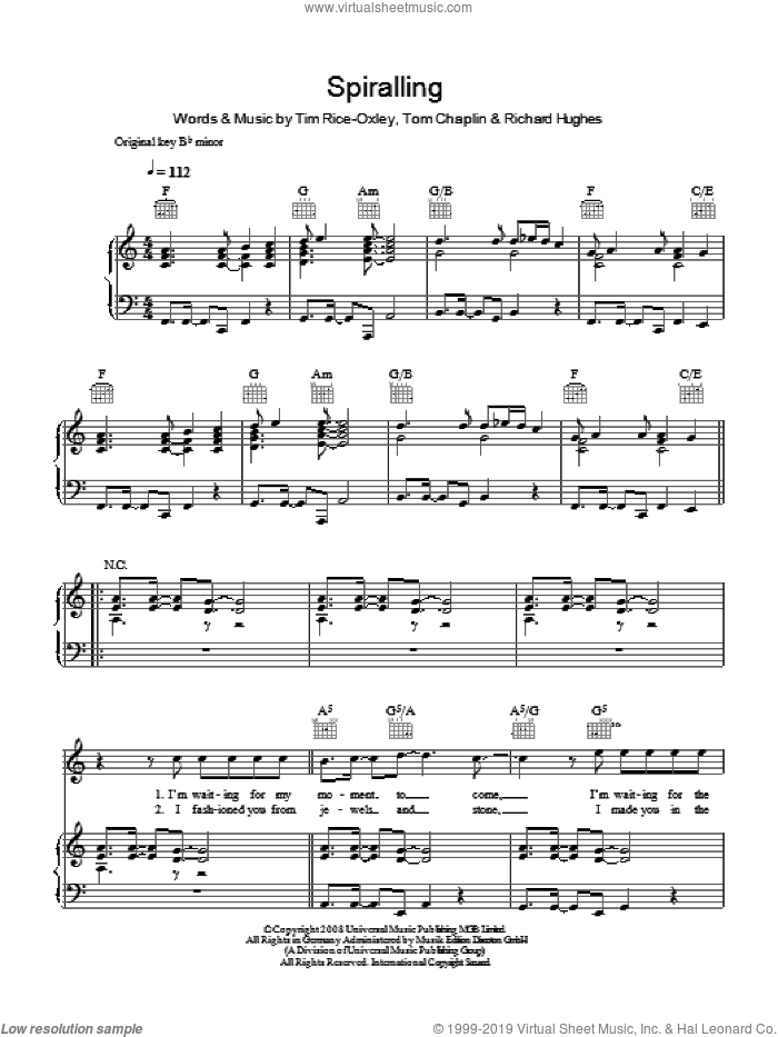 Spiralling sheet music for voice, piano or guitar by Tom Chaplin