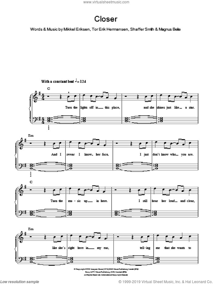 Closer sheet music for piano solo by Ne-Yo, Magnus Beite, Mikkel Eriksen, Shaffer Smith and Tor Erik Hermansen, easy skill level