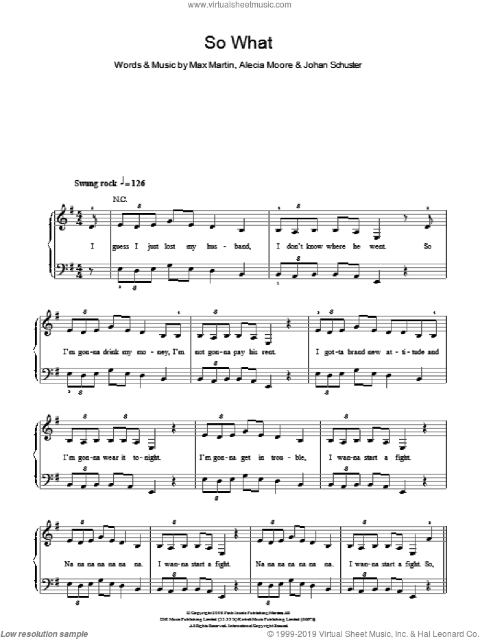 So What sheet music for piano solo by Max Martin, Miscellaneous, Alecia Moore and Johan Schuster, easy skill level