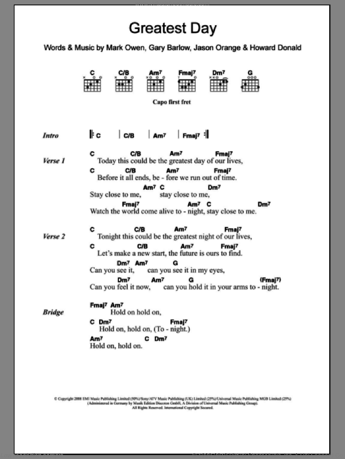 Greatest Day sheet music for guitar (chords) by Take That, Gary Barlow and Mark Owen, intermediate. Score Image Preview.