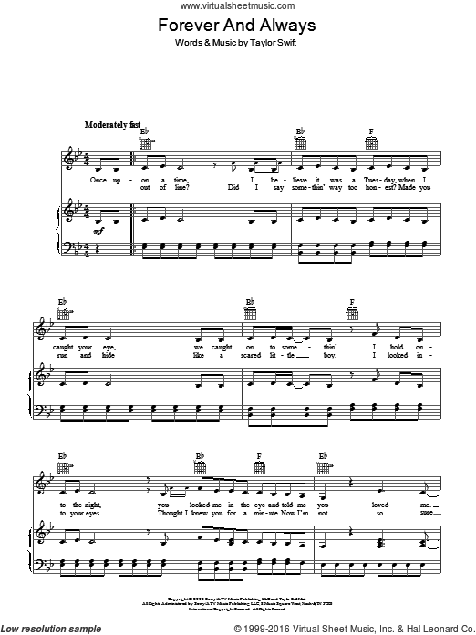 Forever And Always sheet music for voice, piano or guitar by Taylor Swift. Score Image Preview.