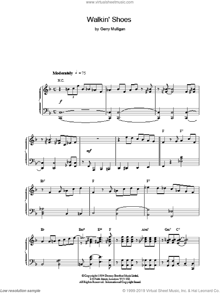 Walkin' Shoes sheet music for piano solo by Gerry Mulligan, intermediate piano. Score Image Preview.
