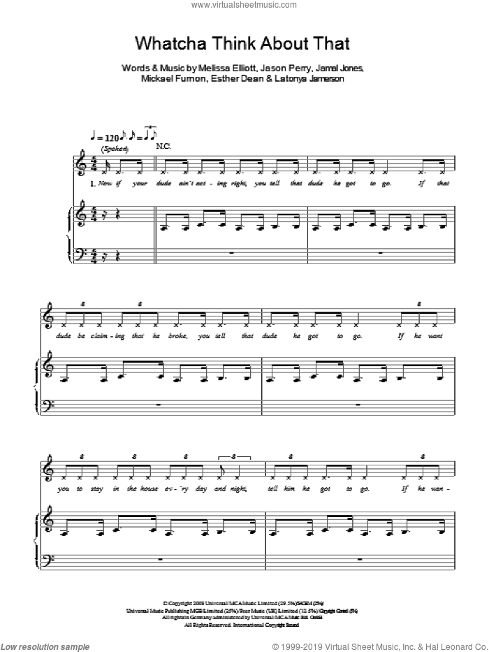 Whatcha Think About That sheet music for voice, piano or guitar by Ester Dean, The Pussycat Dolls and Jason Perry, intermediate. Score Image Preview.