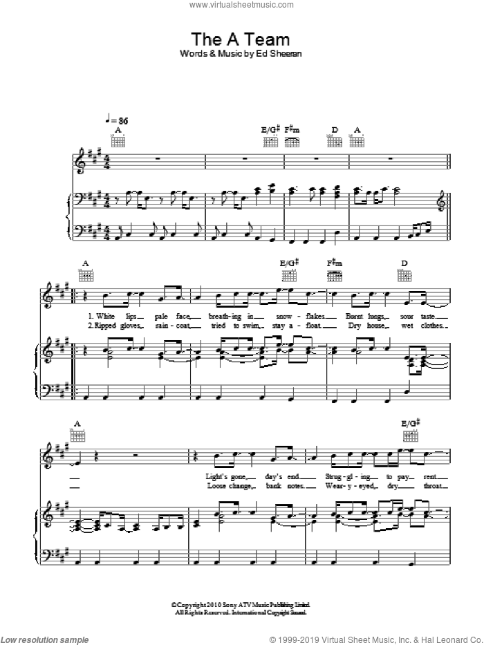 The A Team sheet music for voice, piano or guitar by Ed Sheeran. Score Image Preview.