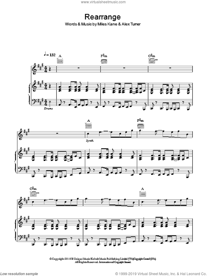 Rearrange sheet music for voice, piano or guitar by Alex Turner