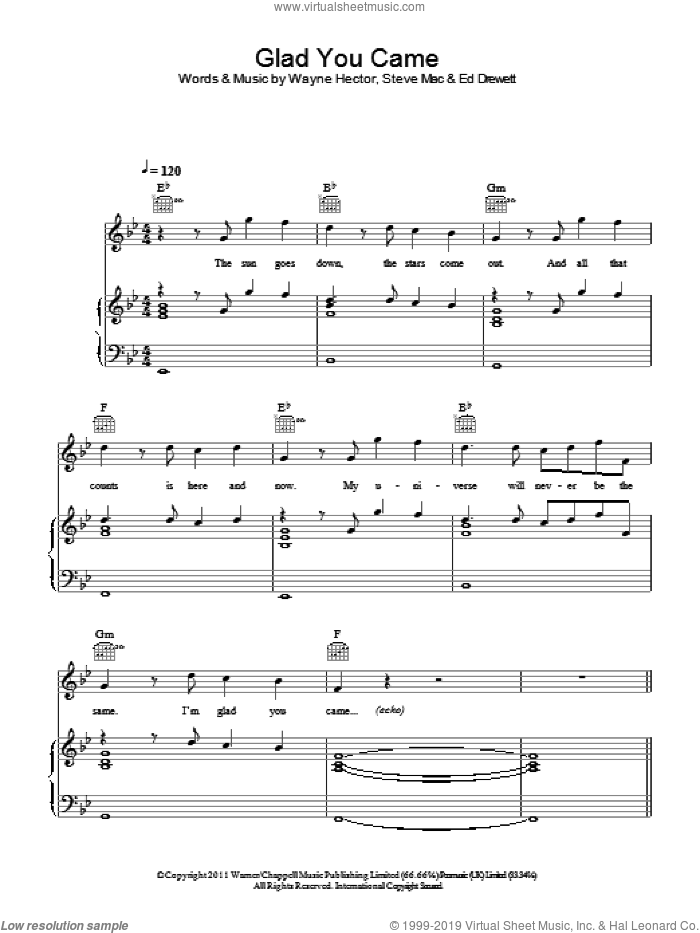 Glad You Came sheet music for voice, piano or guitar by Wayne Hector