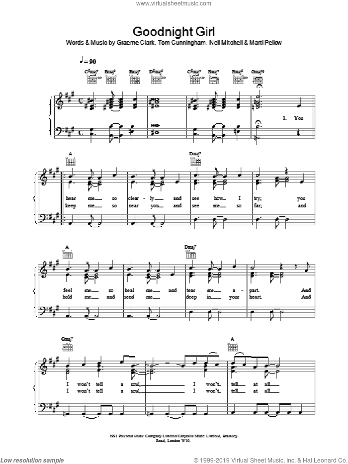 Goodnight Girl sheet music for voice, piano or guitar by Tom Cunningham and Wet Wet Wet. Score Image Preview.