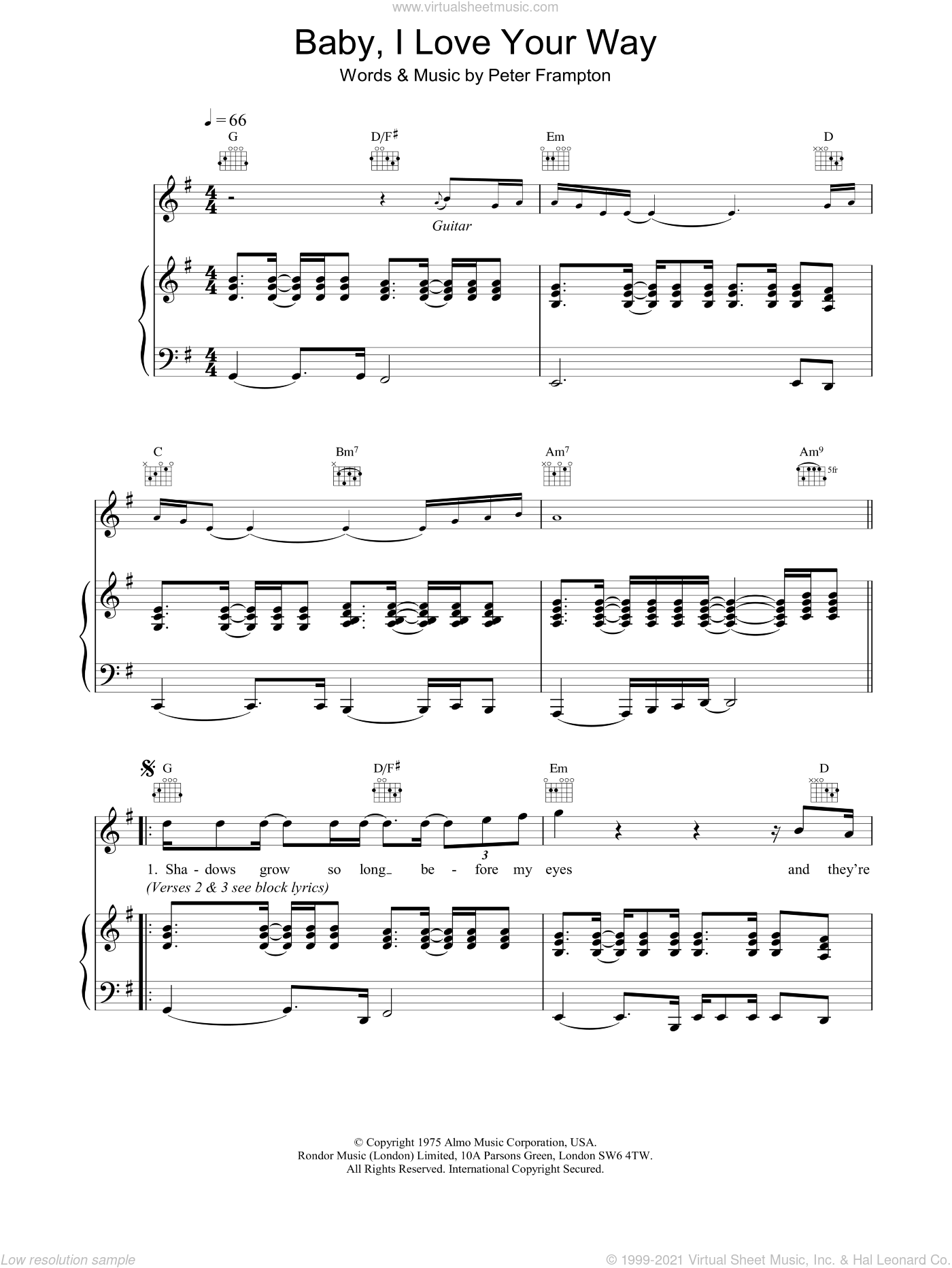 Baby, I Love Your Way sheet music for voice, piano or guitar by Peter Frampton, intermediate skill level