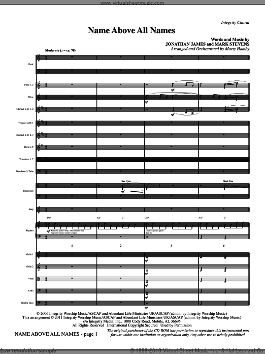 Name Above All Names (COMPLETE) sheet music for orchestra by Marty Hamby, intermediate. Score Image Preview.
