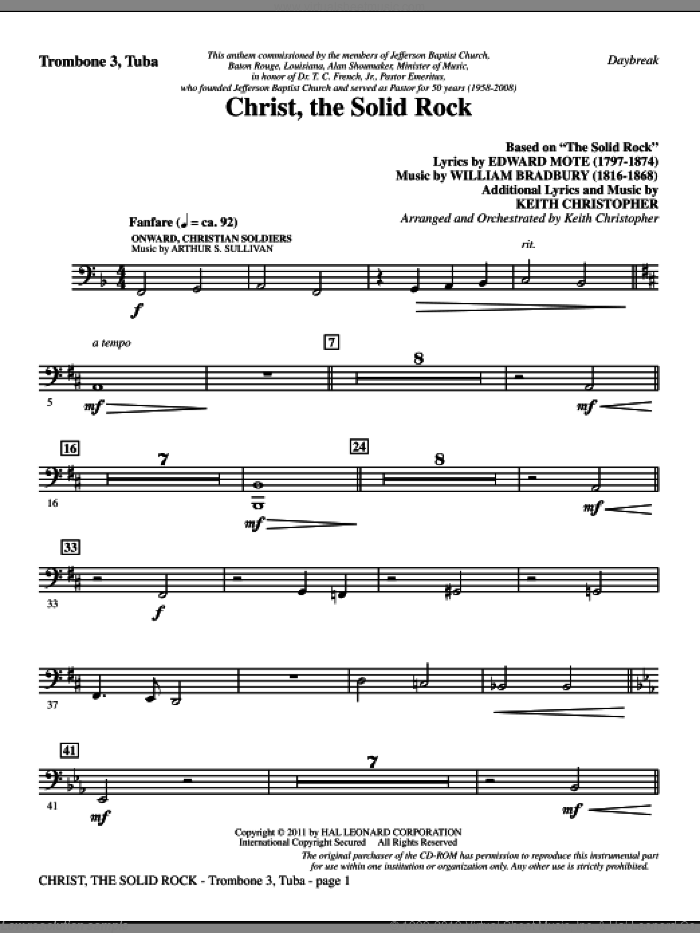 Christ, The Solid Rock sheet music for orchestra/band (trombone 3/tuba) by Edward Mote