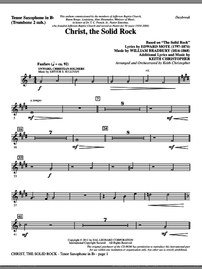 Christ, The Solid Rock sheet music for orchestra/band (tenor sax, sub. tbn 2) by Edward Mote