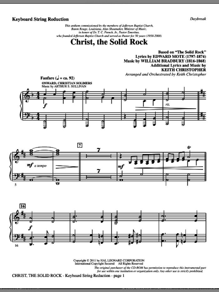 Christ, The Solid Rock sheet music for orchestra/band (keyboard string reduction) by Edward Mote