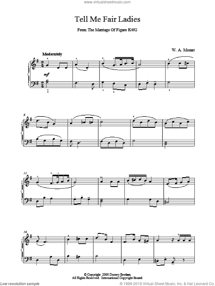 Tell Me Fair Ladies sheet music for piano solo by Wolfgang Amadeus Mozart. Score Image Preview.