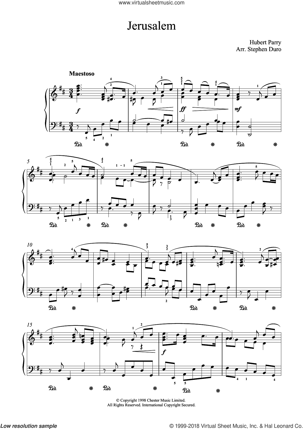 Jerusalem sheet music for piano solo by Hubert Parry and George Frideric Handel, intermediate skill level