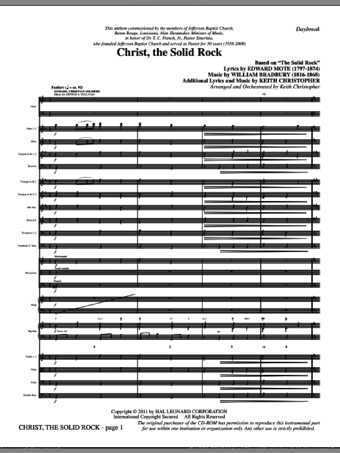 Christ, The Solid Rock (complete set of parts) sheet music for orchestra/band (Orchestra) by Keith Christopher, Edward Mote and William Bradbury, intermediate skill level
