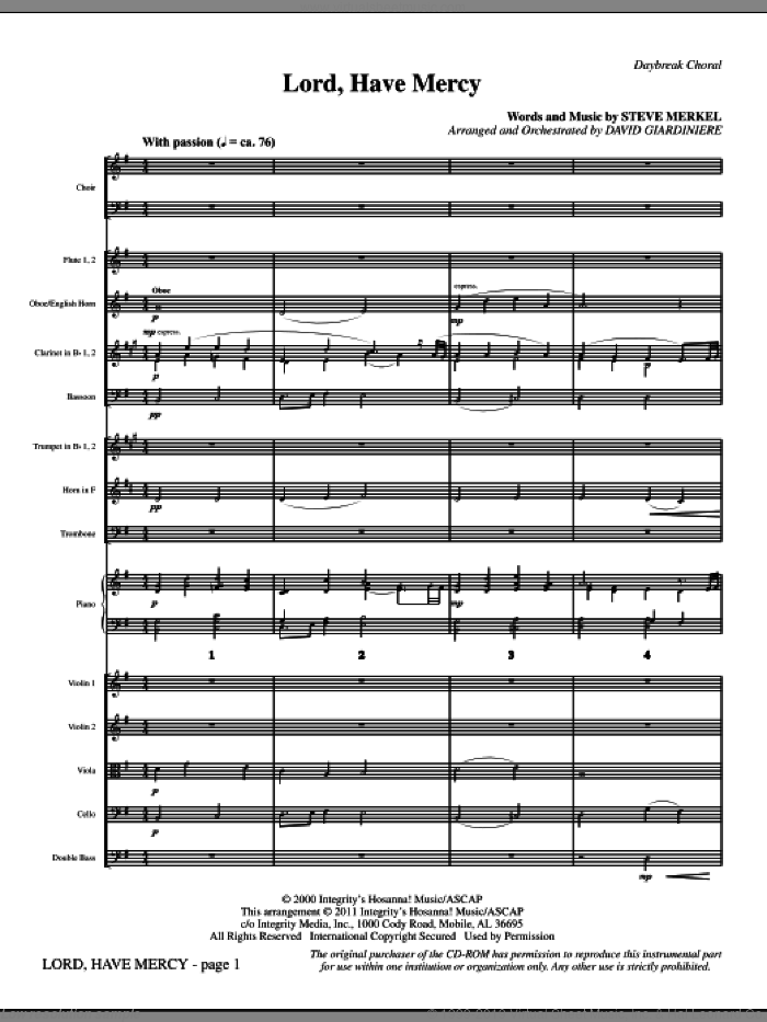 Lord Have Mercy (complete set of parts) sheet music for orchestra/band (Orchestra) by Steve Merkel, David Giardiniere and Michael W. Smith, intermediate. Score Image Preview.