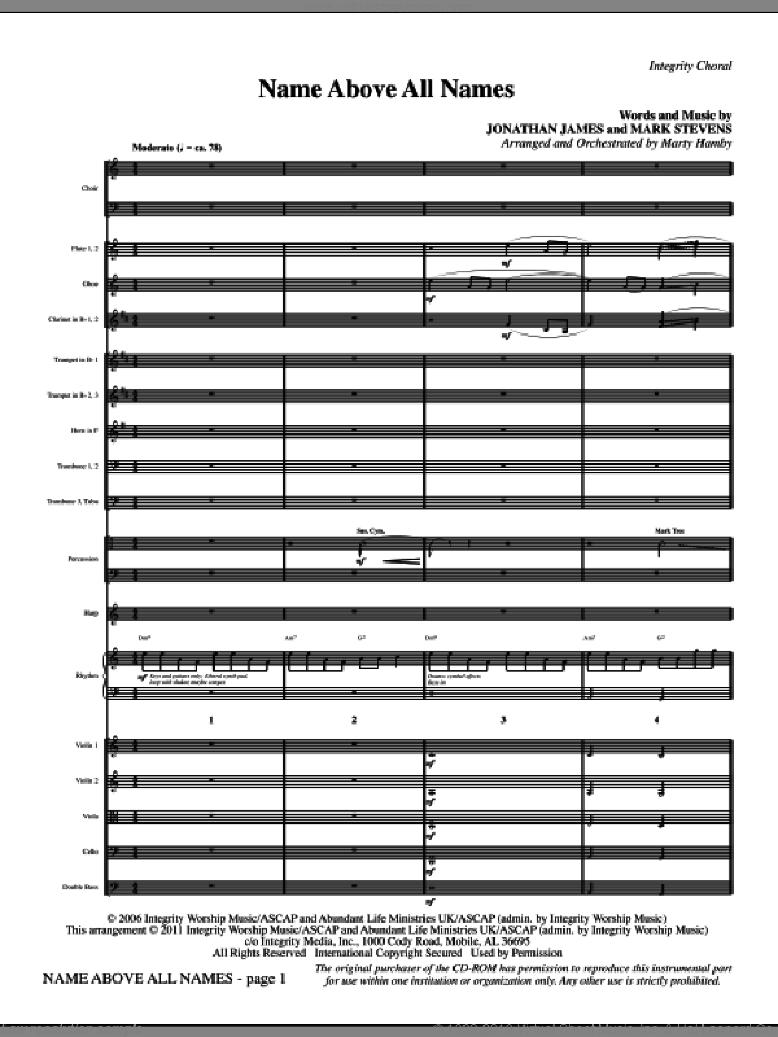 Name Above All Names (complete set of parts) sheet music for orchestra/band (Orchestra) by Marty Hamby, Jonathan James and Mark Stevens, intermediate skill level