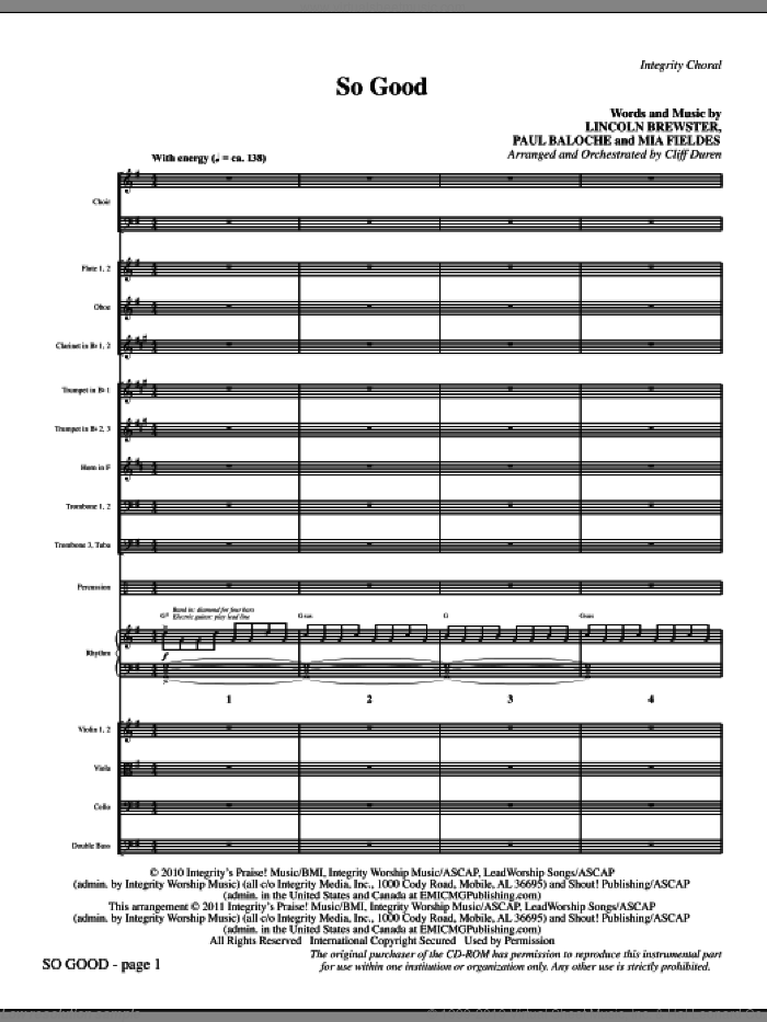 So Good (complete set of parts) sheet music for orchestra/band (Orchestra) by Paul Baloche, Lincoln Brewster, Mia Fieldes and Cliff Duren, intermediate. Score Image Preview.