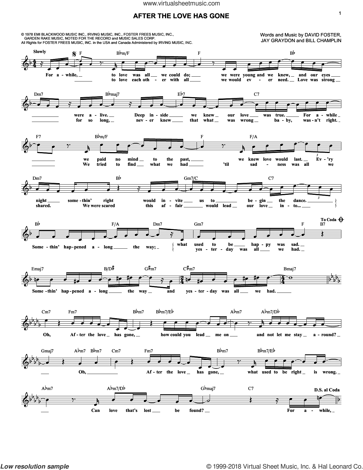 After The Love Has Gone sheet music for voice and other instruments (fake book) by Earth, Wind & Fire, Bill Champlin, David Foster and Jay Graydon, intermediate skill level