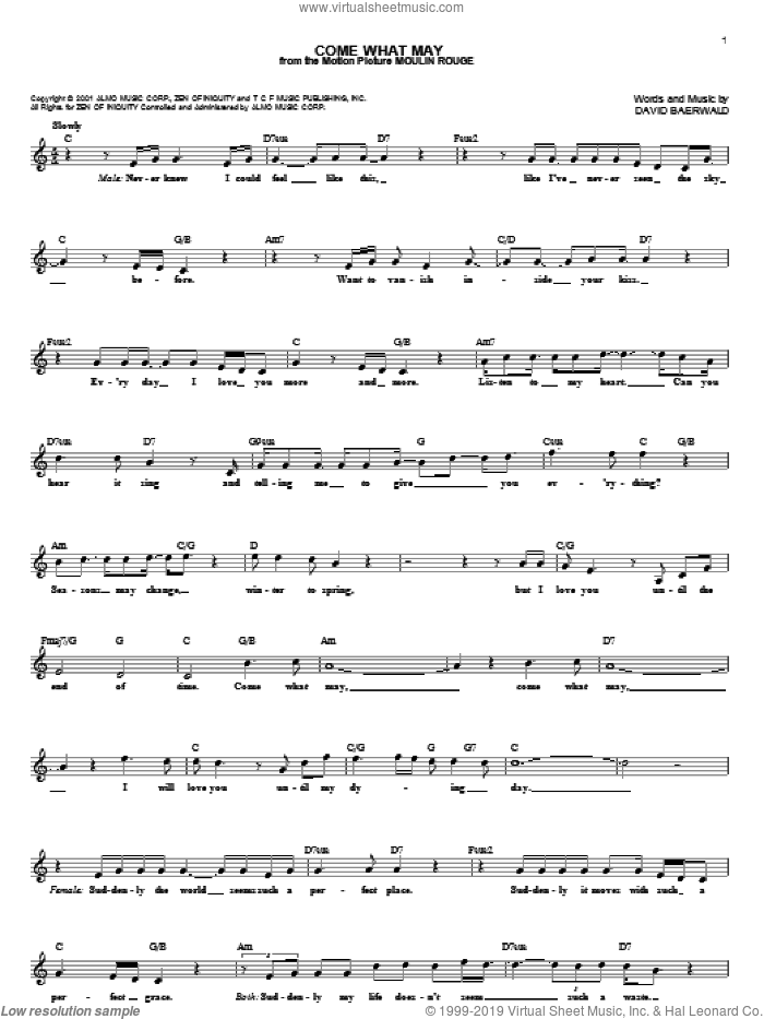 Come What May sheet music for voice and other instruments (fake book) by Nicole Kidman and Ewan McGregor and David Baerwald, intermediate skill level