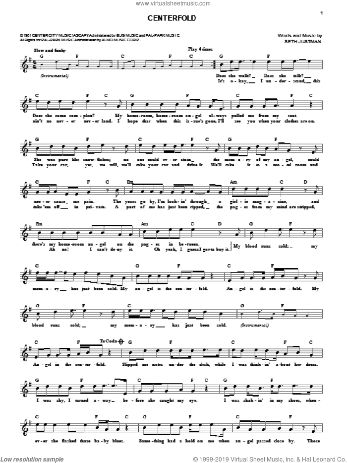 Centerfold sheet music for voice and other instruments (fake book) by J. Geils Band and Seth Justman, intermediate skill level
