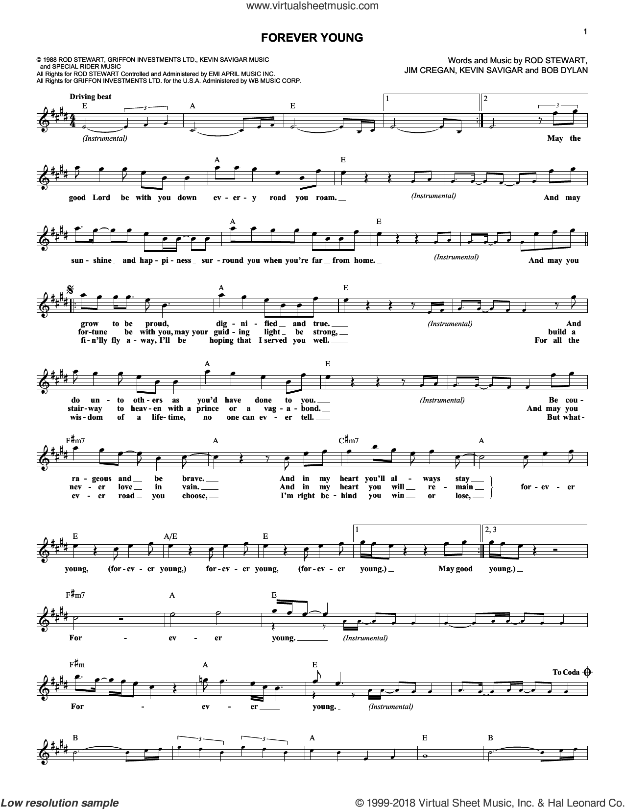 Forever Young sheet music for voice and other instruments (fake book) by Kevin Savigar, Bob Dylan, Jim Cregan and Rod Stewart. Score Image Preview.