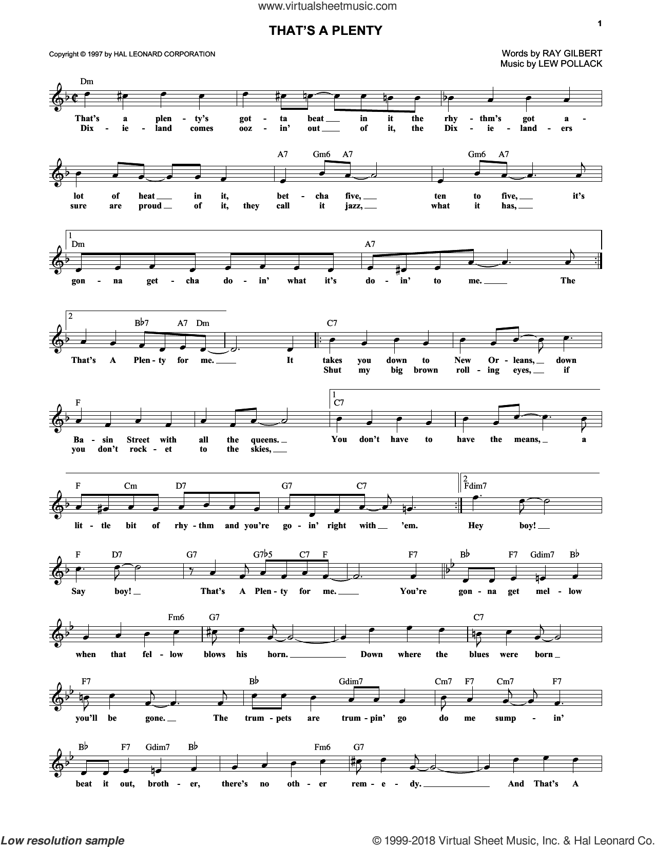 That's A Plenty sheet music for voice and other instruments (fake book) by Roy Gilbert and Lew Pollack, intermediate skill level