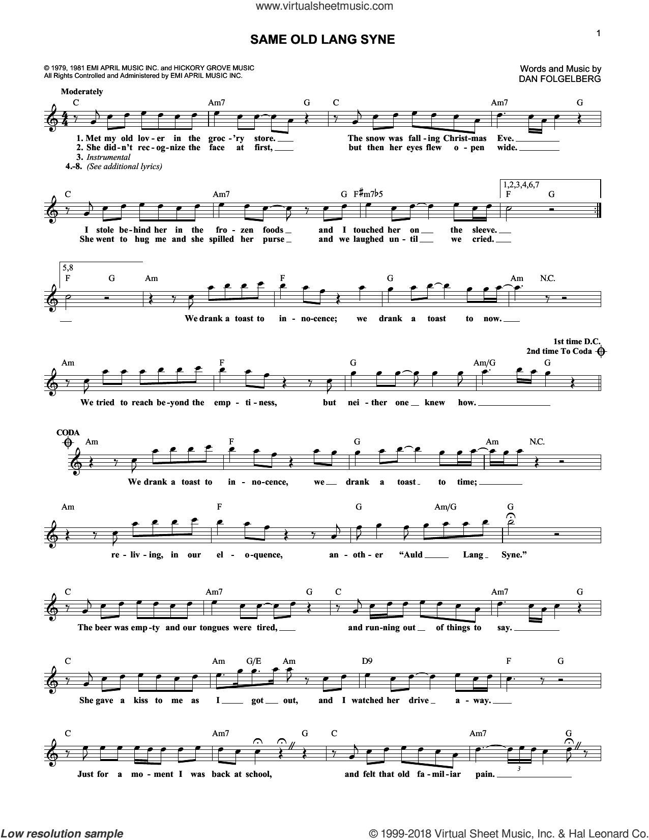 Same Old Lang Syne sheet music for voice and other instruments (fake book) by Dan Fogelberg, intermediate skill level