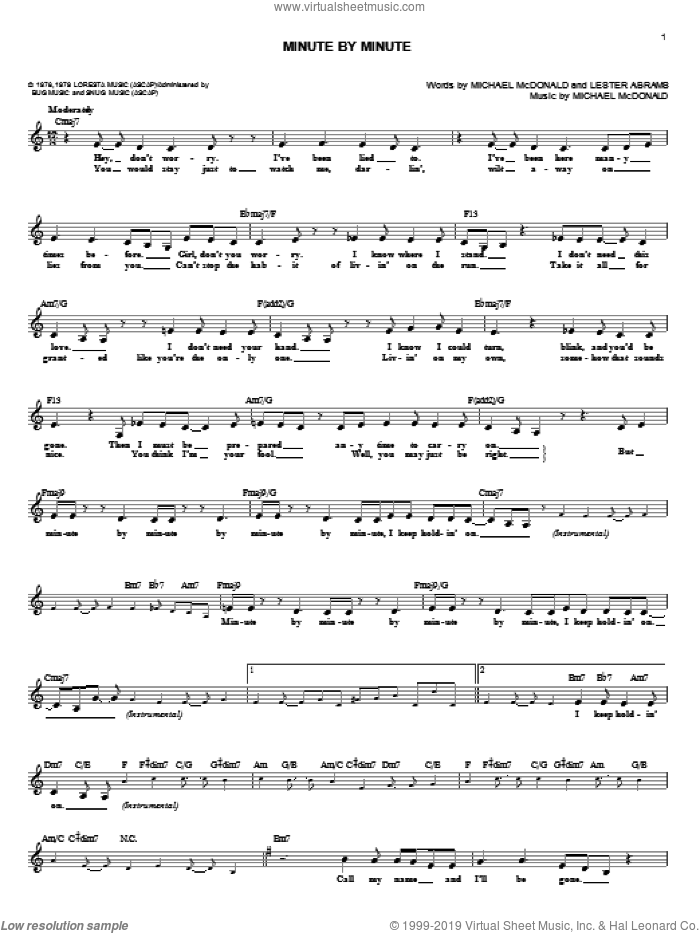 Minute By Minute sheet music for voice and other instruments (fake book) by Michael McDonald, intermediate voice. Score Image Preview.