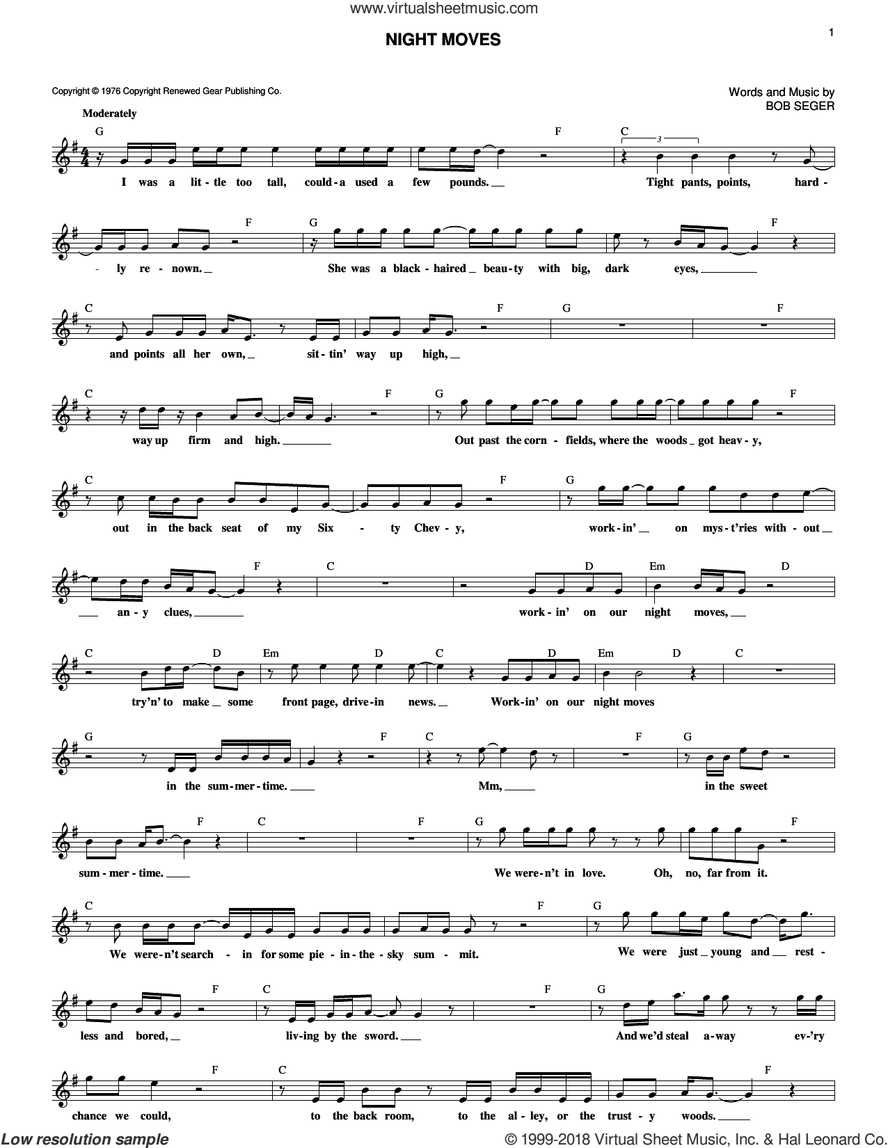 Night Moves sheet music for voice and other instruments (fake book) by Bob Seger, intermediate skill level